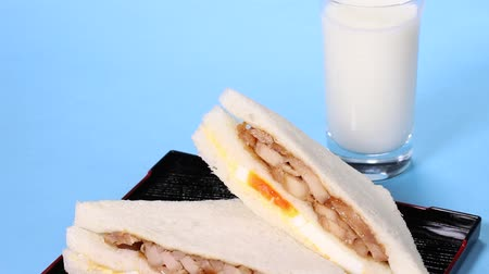 hard boiled : Chicken Egg Sandwich and glass of milk Stock Footage