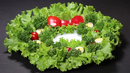 hard boiled : Vegetable Christmas Wreath on black background