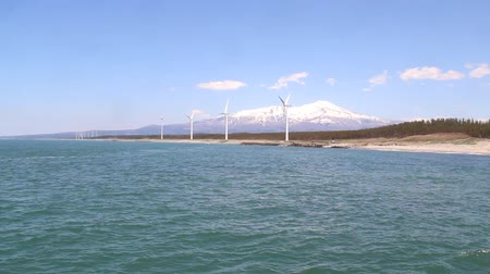 The Sea of Japan, Windmills and Mt. chokai Stock Footage