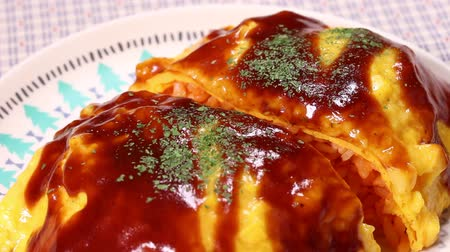 Japanese omelette rice,omurice close up