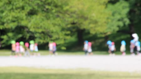 Children Walking in the Park ,Focus Blur