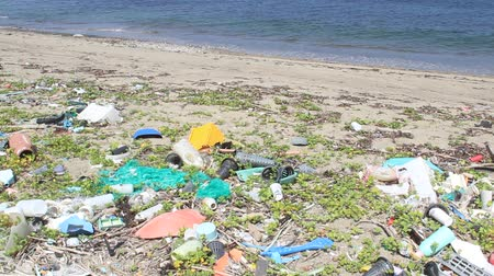 A lot of trash on the beach in  Japan