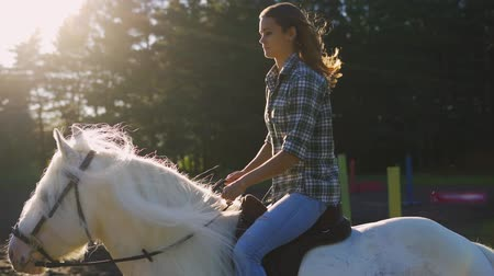 Çingene : Young woman riding horse during a summer sunset. Slow Motion
