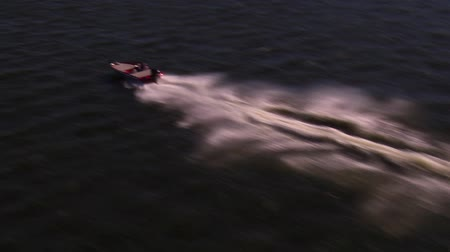 prędkość : Aerial shot of speed boat from above Wideo