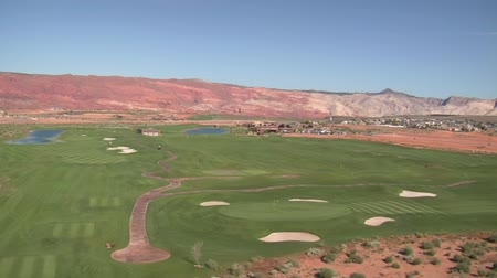irrigate : Aerial shot of desert golf course