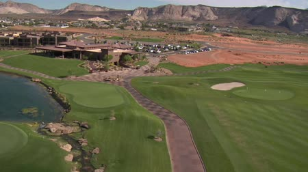 clubhouse : Aerial shot of clubhouse on desert course