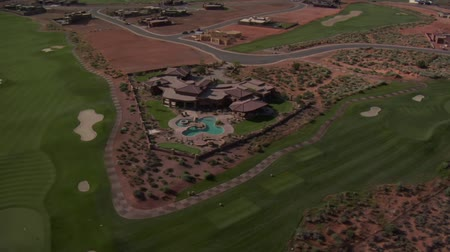 nevada : Aerial shot of desert golf course mansion- high altitude
