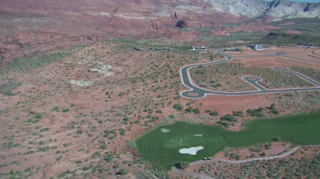 clubhouse : Aerial shot of desert golf course- high altitude
