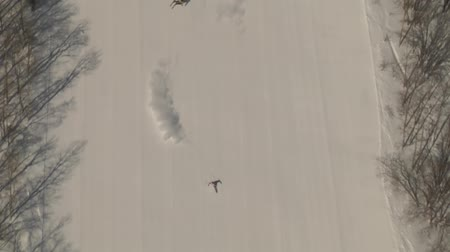 narciarz : aerial shot of skiers carving Wideo