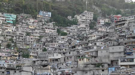 homeless : extensive hillside neighborhood in Port-au-Prince Haiti