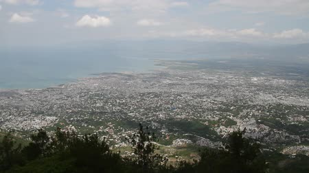 homeless : extremely wide hilltop shot of Port-au-Prince Haiti Stock Footage