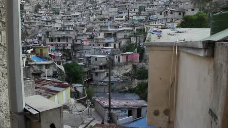 homeless : extensive hillside neighborhood for Prince Haiti Stock Footage