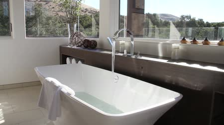 banyo : luxurious modern bathroom with bathtub filling