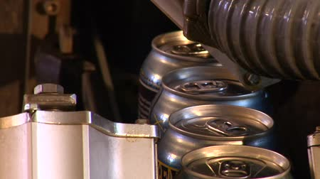 bira fabrikası : close-up of  beer cans on assembly-line