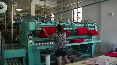 çamaşırhane : woman takes red cloth from industrial ironing machine Stok Video