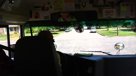 inside bus : Shot of schoolbus turning from inside bus