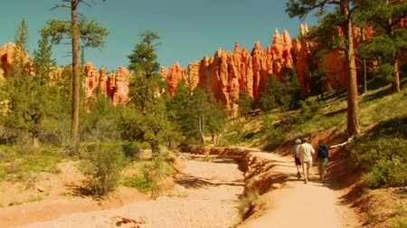 backpacker : escursionisti in Bryce Canyon Parco nazionale Filmati Stock