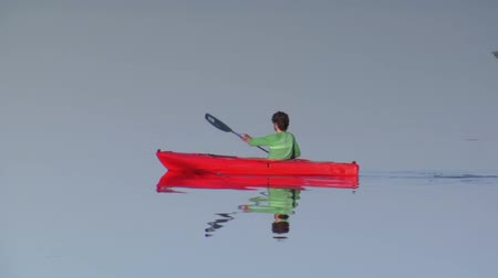 kayak : man kayaks on calm water Stock Footage