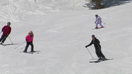 bezmotorové létání : Group of skiers glide down easy hill, pass camera