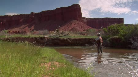 рыболовство : fly fisherman in stream with red rock cliffs