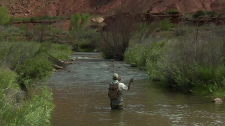 ryba : slow motion pull out shot of fly fisherman and red rock cliffs  Dostupné videozáznamy