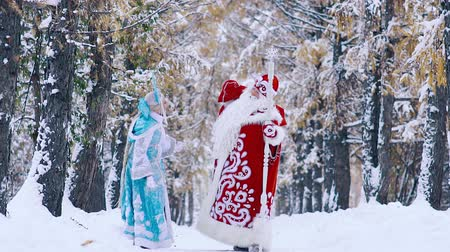 ded : Father Frost picking up the bag with New Year gifts, and snowflake helping him