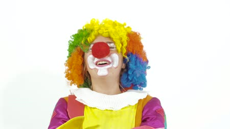 ámulat : Clown in funny colorful costume can it help laughing Stock mozgókép