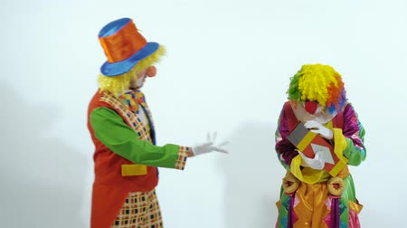 předstírat : Two funny circus clowns playing with a red glossy box, throwing it to the air Dostupné videozáznamy