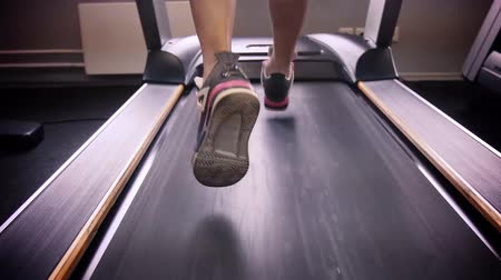 w : Back view of female legs walking and running on treadmill in gym, woman training