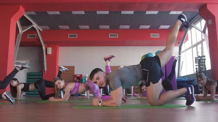 shaping : Multiracial group during aerobics class
