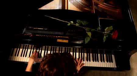 compositor : Two hands playing on a beautiful grand piano.