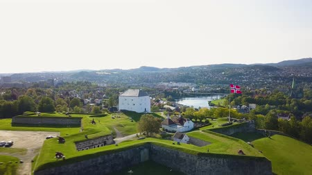 trondheim : Aerial Capture of the Ancient Fortress in Trondheim, Norway - Sunny Summer Day with an overview of the city Stock Footage