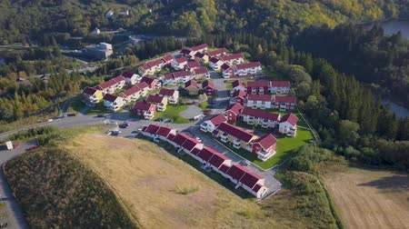 sobre o branco : Aerial Capture of the Block of Houses in Trondheim, Norway - Sunny Summer Day with an overview of the city and Mountains in the Background