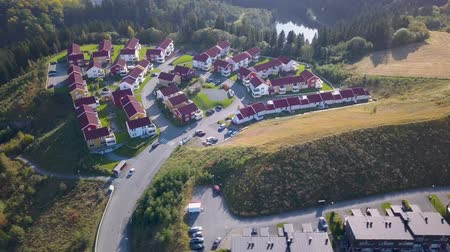 trondheim : Aerial Capture of the Block of Houses in Trondheim, Norway - Sunny Summer Day with an overview of the city and Mountains in the Background