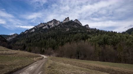 lesser poland : Trzy Korony (Three Crowns) in Pieniny Mountains in Poland - Time Lapse Video Stock Footage