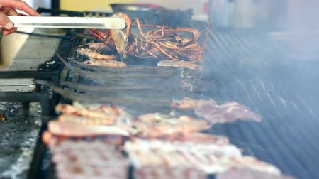 carne : Grilling lobsters, fish and shrimps on a barbecue. HD 1080i.