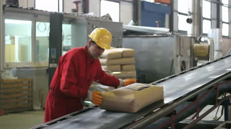 dağıtım : Warehouse worker in red overalls beside conveyor belt. HD 1080i.