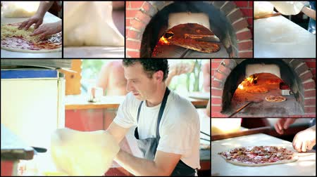 cucina italiana : Video collage di clip che mostrano lo chef fare una pizza in cucina commerciale. HD 1080p.