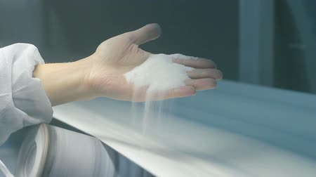 refining : Workers hand holding crystal sugar in the sugar refinery. HD 1080i.