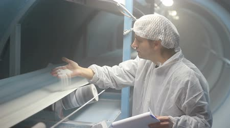 qualidade : Quality inspector monitoring the process of crystal sugar manufacturing. HD 1080i.