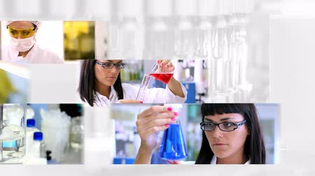 laboratórium : Montage of clips showing researchers working in laboratory arranged in multi screen on white background with medical ampoules. HD 1080p