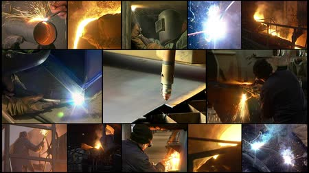 spawanie : Collage of video clips showing people at work in heavy industry.