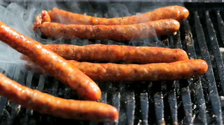food preparation : Sausages on the barbecue grill. Shallow depth-of-field. Selctive focus. HD1080i.