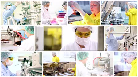 pharmaceuticals :  Pharmaceutical workers at work  Stock Footage