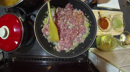 kavurma : Chef Frying Minced Meat In A Pan