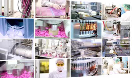 orvostudomány : Pharmaceutical Manufacturing - Collage Stock mozgókép