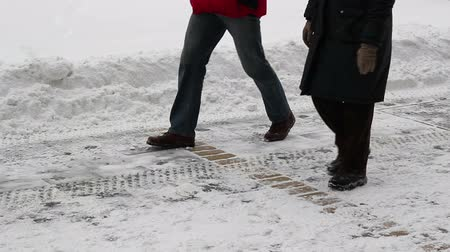 мороз : People Walking on Snowy Street Стоковые видеозаписи