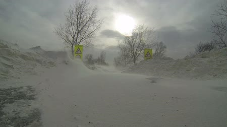 deep snow : Road Signs Covered by Snow