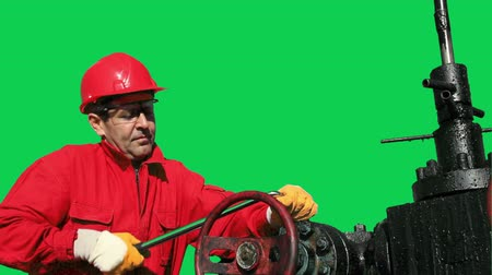technikus : Oil Worker and Pump Jack Green Screen