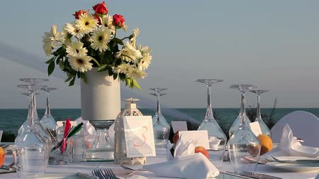 setting : Table Setting at a Luxury Wedding Reception Stock Footage